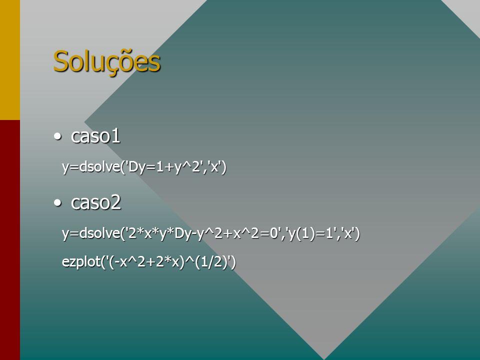 Soluções caso1caso1 y=dsolve('Dy=1+y^2','x') y=dsolve('Dy=1+y^2','x') caso2caso2 y=dsolve('2*x*y*Dy-y^2+x^2=0','y(1)=1','x') y=dsolve('2*x*y*Dy-y^2+x^