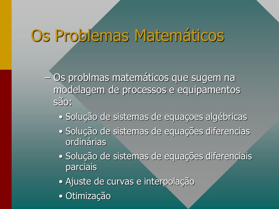 Os Problemas Matemáticos –Os problmas matemáticos que sugem na modelagem de processos e equipamentos são: Solução de sistemas de equaçoes algébricasSo