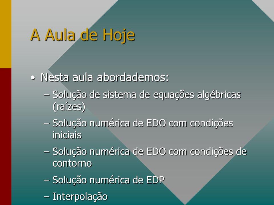 A Aula de Hoje Nesta aula abordademos:Nesta aula abordademos: –Solução de sistema de equações algébricas (raízes) –Solução numérica de EDO com condiçõ
