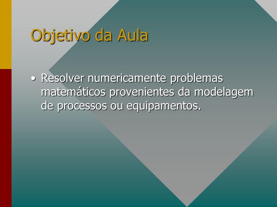 Objetivo da Aula Resolver numericamente problemas matemáticos provenientes da modelagem de processos ou equipamentos.Resolver numericamente problemas