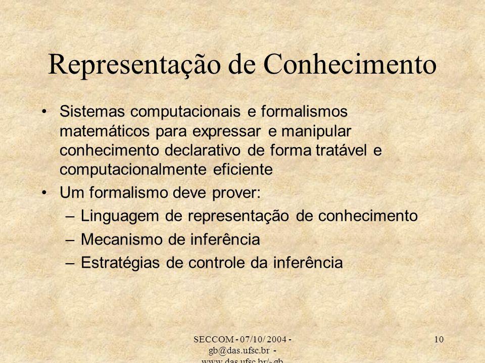 SECCOM - 07/10/ 2004 - gb@das.ufsc.br - www.das.ufsc.br/~gb 10 Representação de Conhecimento Sistemas computacionais e formalismos matemáticos para expressar e manipular conhecimento declarativo de forma tratável e computacionalmente eficiente Um formalismo deve prover: –Linguagem de representação de conhecimento –Mecanismo de inferência –Estratégias de controle da inferência
