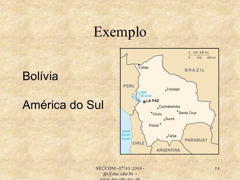 SECCOM - 07/10/ 2004 - gb@das.ufsc.br - www.das.ufsc.br/~gb 14 Exemplo Bolívia América do Sul