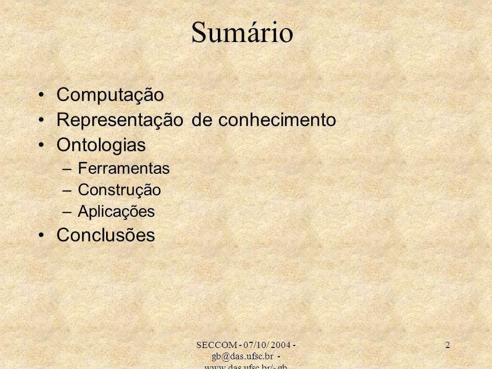 SECCOM - 07/10/ 2004 - gb@das.ufsc.br - www.das.ufsc.br/~gb 33 Tipos de Ontologias Ontologias de Representação: definem as primitivas de representação - como frames, axiomas, atributos e outros – de forma declarativa.