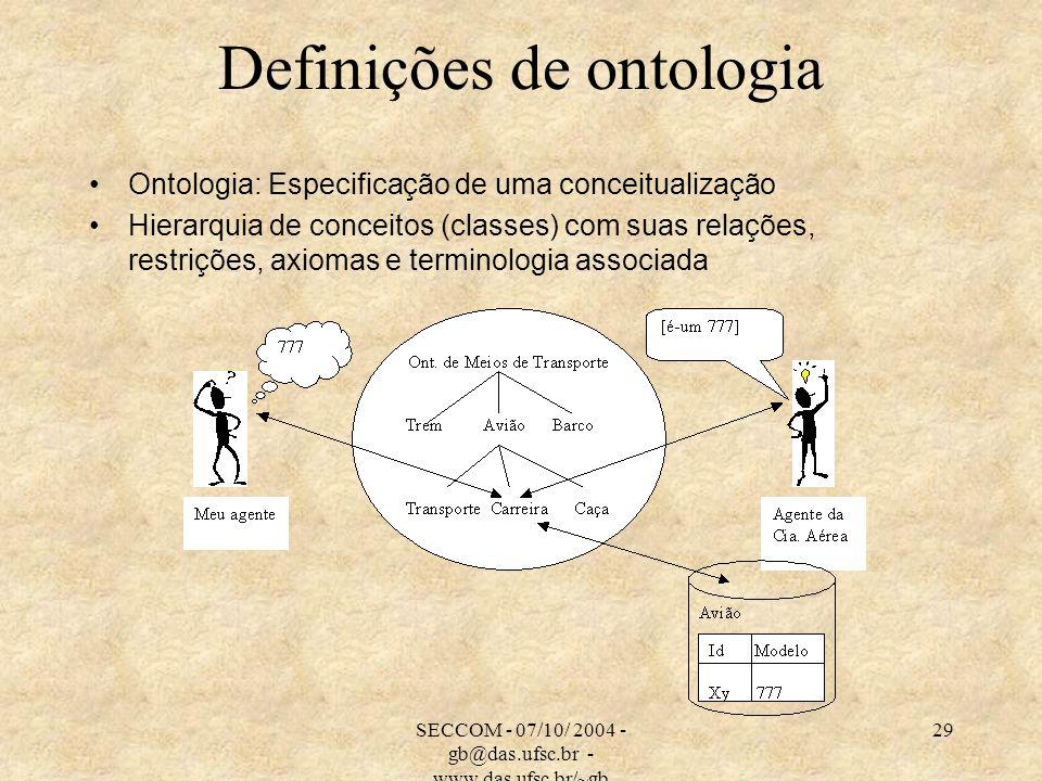 SECCOM - 07/10/ 2004 - gb@das.ufsc.br - www.das.ufsc.br/~gb 29 Definições de ontologia Ontologia: Especificação de uma conceitualização Hierarquia de conceitos (classes) com suas relações, restrições, axiomas e terminologia associada