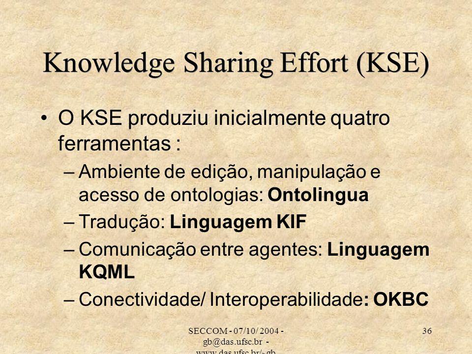 SECCOM - 07/10/ 2004 - gb@das.ufsc.br - www.das.ufsc.br/~gb 36 Knowledge Sharing Effort (KSE) O KSE produziu inicialmente quatro ferramentas : –Ambiente de edição, manipulação e acesso de ontologias: Ontolingua –Tradução: Linguagem KIF –Comunicação entre agentes: Linguagem KQML –Conectividade/ Interoperabilidade: OKBC