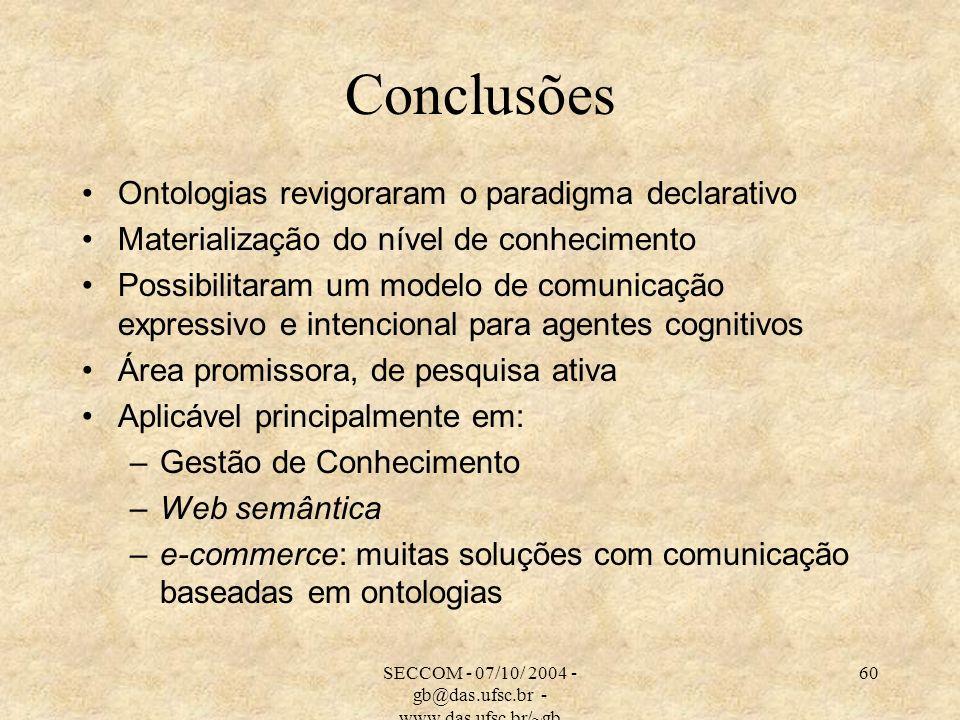 SECCOM - 07/10/ 2004 - gb@das.ufsc.br - www.das.ufsc.br/~gb 60 Conclusões Ontologias revigoraram o paradigma declarativo Materialização do nível de conhecimento Possibilitaram um modelo de comunicação expressivo e intencional para agentes cognitivos Área promissora, de pesquisa ativa Aplicável principalmente em: –Gestão de Conhecimento –Web semântica –e-commerce: muitas soluções com comunicação baseadas em ontologias