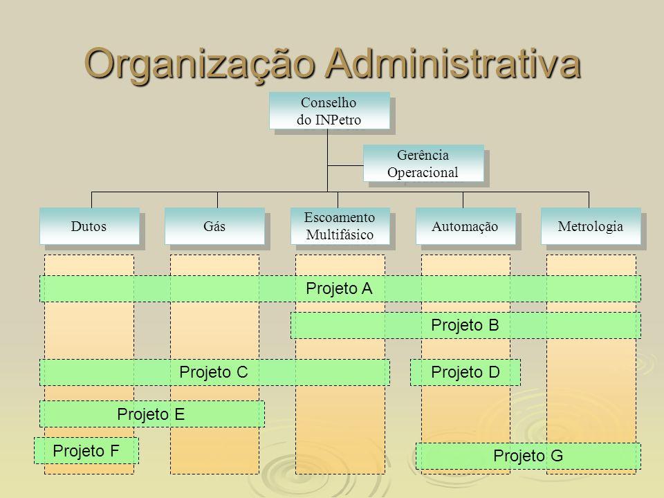 Organização Administrativa Conselho do INPetro Conselho do INPetro Dutos Escoamento Multifásico Automação Gás Projeto A Projeto B Projeto C Projeto E
