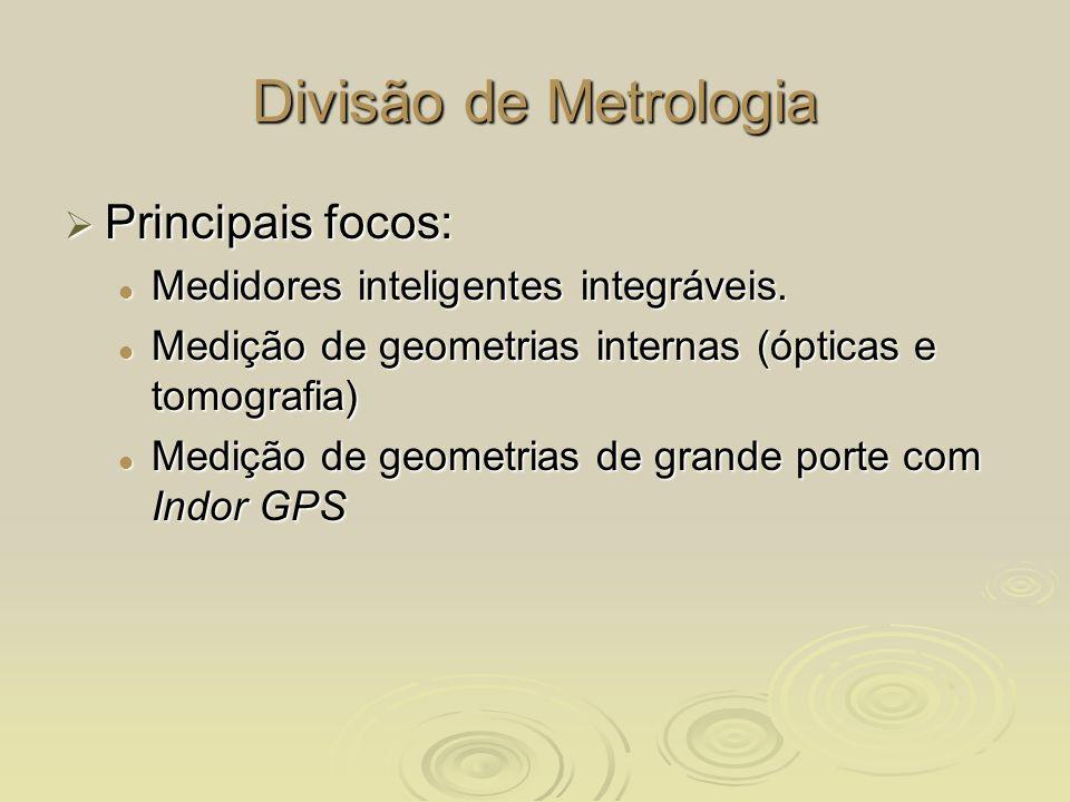 Divisão de Metrologia Principais focos: Principais focos: Medidores inteligentes integráveis. Medidores inteligentes integráveis. Medição de geometria