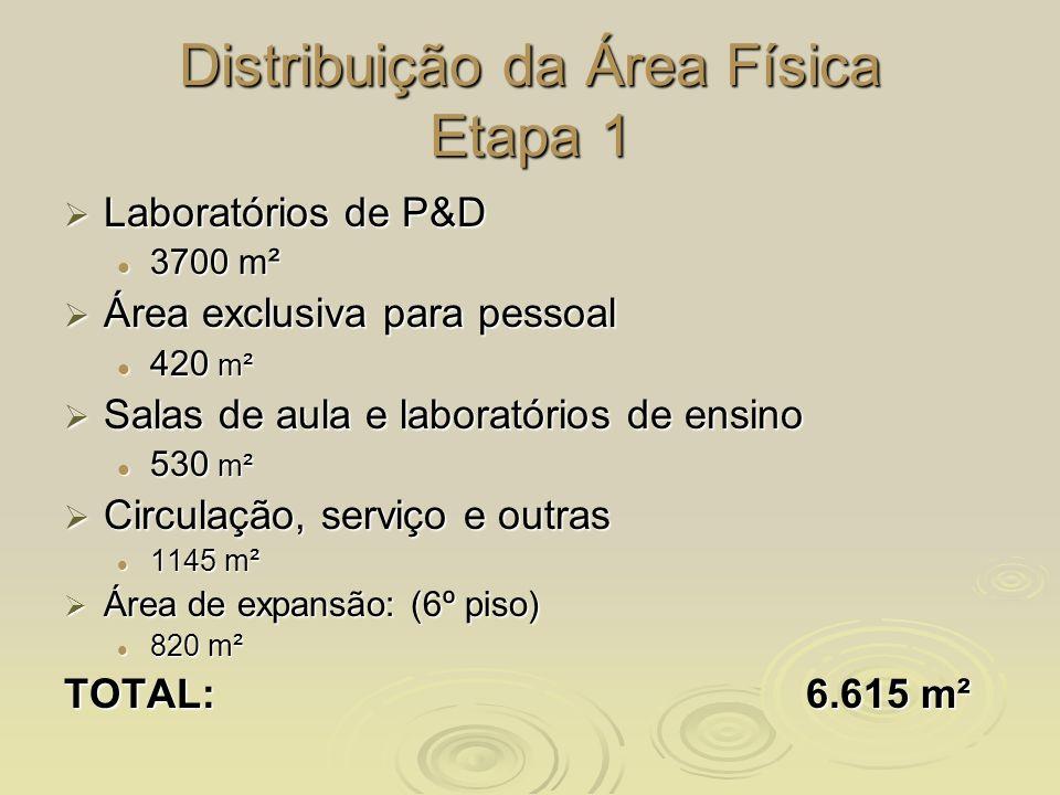 Distribuição da Área Física Etapa 1 Laboratórios de P&D Laboratórios de P&D 3700 m² 3700 m² Área exclusiva para pessoal Área exclusiva para pessoal 42