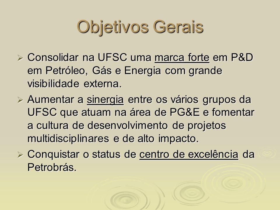 Objetivos Específicos (1) Ampliar quantitativa e qualitativamente na UFSC as atividades de P&D e formação de recursos humanos voltadas à área de Petróleo, Gás e Energia.