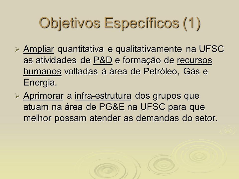 Objetivos Específicos (1) Ampliar quantitativa e qualitativamente na UFSC as atividades de P&D e formação de recursos humanos voltadas à área de Petró