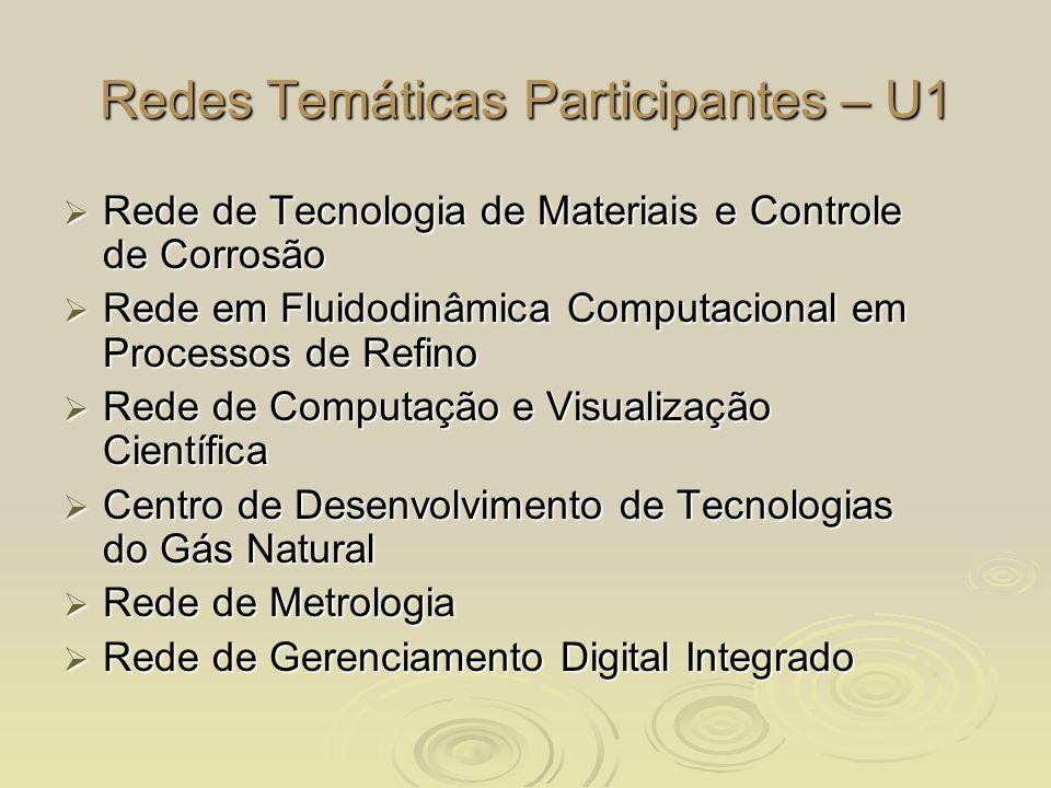 Redes Temáticas Participantes – U1 Rede de Tecnologia de Materiais e Controle de Corrosão Rede de Tecnologia de Materiais e Controle de Corrosão Rede
