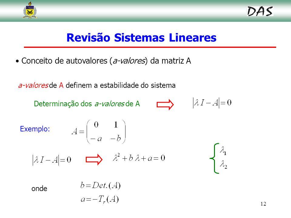 12 Conceito de autovalores (a-valores) da matriz A a-valores de A definem a estabilidade do sistema Determinação dos a-valores de A Exemplo: onde Revi
