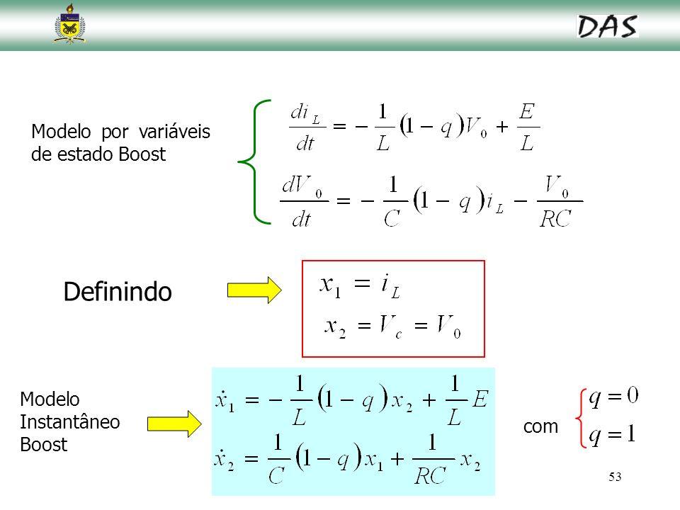 53 Definindo Modelo Instantâneo Boost Modelo por variáveis de estado Boost com