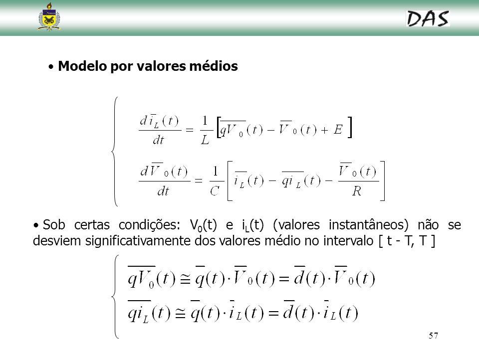 57 Modelo por valores médios Sob certas condições: V 0 (t) e i L (t) (valores instantâneos) não se desviem significativamente dos valores médio no int