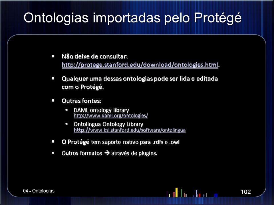 Ontologias importadas pelo Protégé Não deixe de consultar: http://protege.stanford.edu/download/ontologies.html. Não deixe de consultar: http://proteg