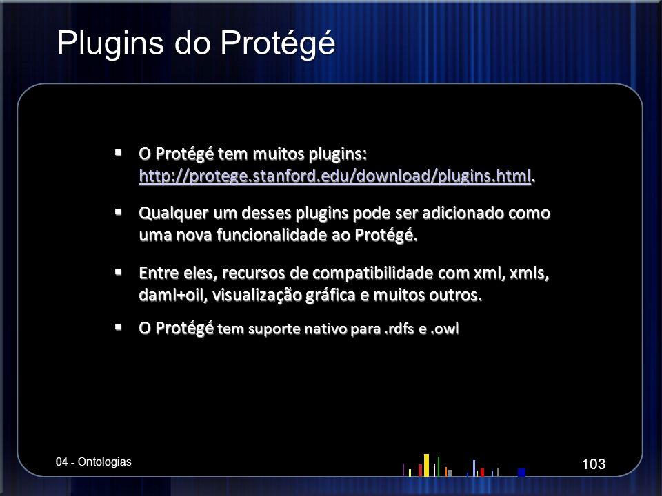 Plugins do Protégé O Protégé tem muitos plugins: http://protege.stanford.edu/download/plugins.html. O Protégé tem muitos plugins: http://protege.stanf