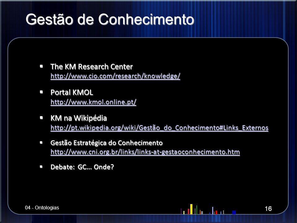 Gestão de Conhecimento The KM Research Center http://www.cio.com/research/knowledge/ The KM Research Center http://www.cio.com/research/knowledge/ htt