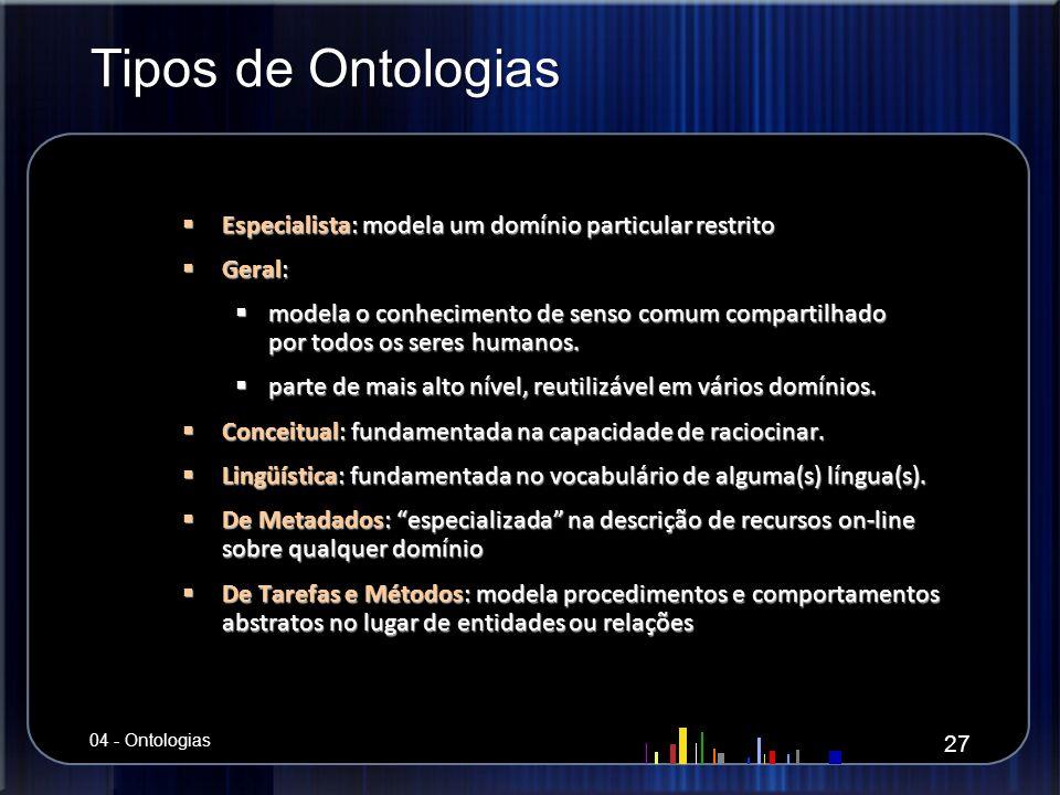 Tipos de Ontologias Especialista: modela um domínio particular restrito Especialista: modela um domínio particular restrito Geral: Geral: modela o con