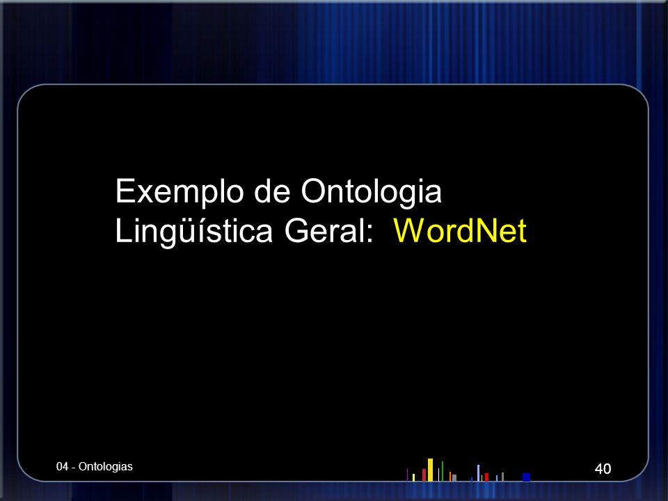 Exemplo de Ontologia Lingüística Geral: WordNet 40 04 - Ontologias