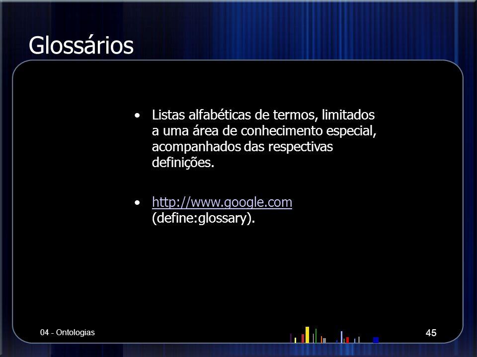 Glossários Listas alfabéticas de termos, limitados a uma área de conhecimento especial, acompanhados das respectivas definições. http://www.google.com