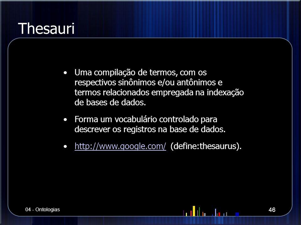 Thesauri Uma compilação de termos, com os respectivos sinônimos e/ou antônimos e termos relacionados empregada na indexação de bases de dados. Forma u