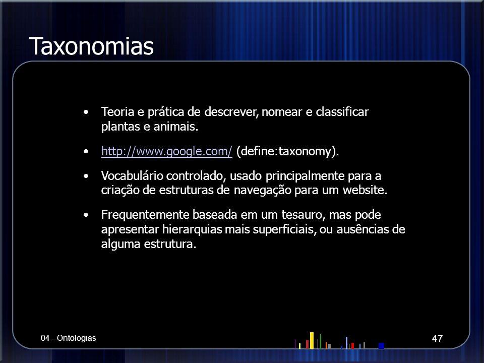 Taxonomias Teoria e prática de descrever, nomear e classificar plantas e animais. http://www.google.com/ (define:taxonomy).http://www.google.com/ Voca