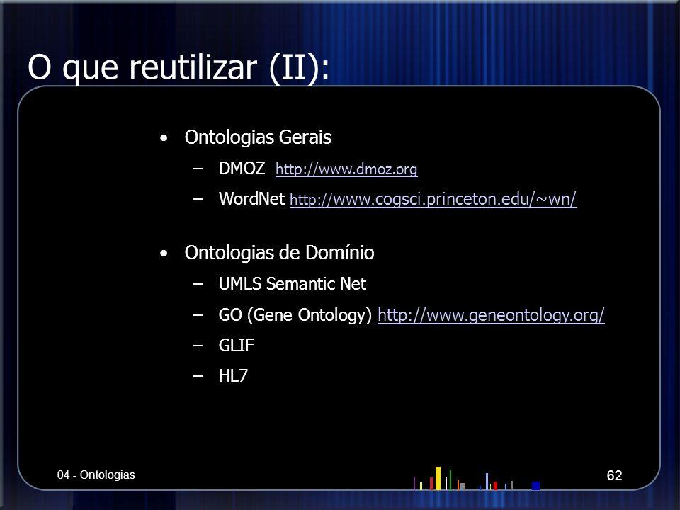 O que reutilizar (II): Ontologias Gerais –DMOZ http://www.dmoz.org http://www.dmoz.org –WordNet http:// www.cogsci.princeton.edu/~wn/ http:// www.cogs