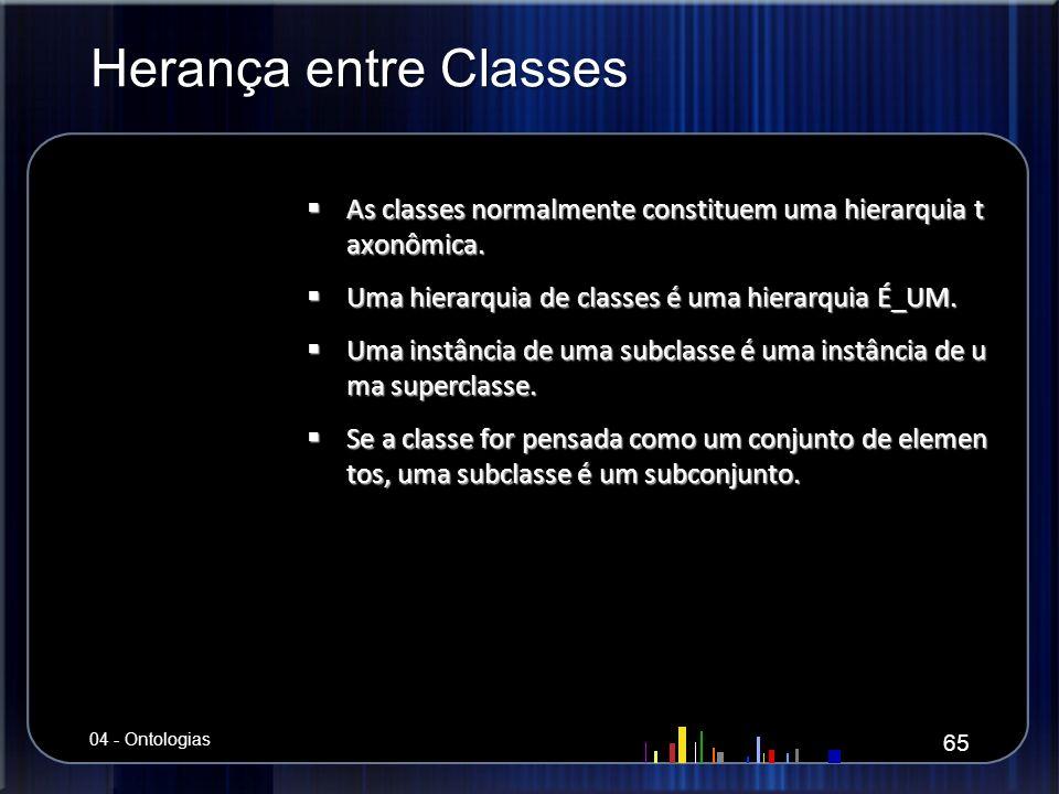 Herança entre Classes As classes normalmente constituem uma hierarquia t axonômica. As classes normalmente constituem uma hierarquia t axonômica. Uma