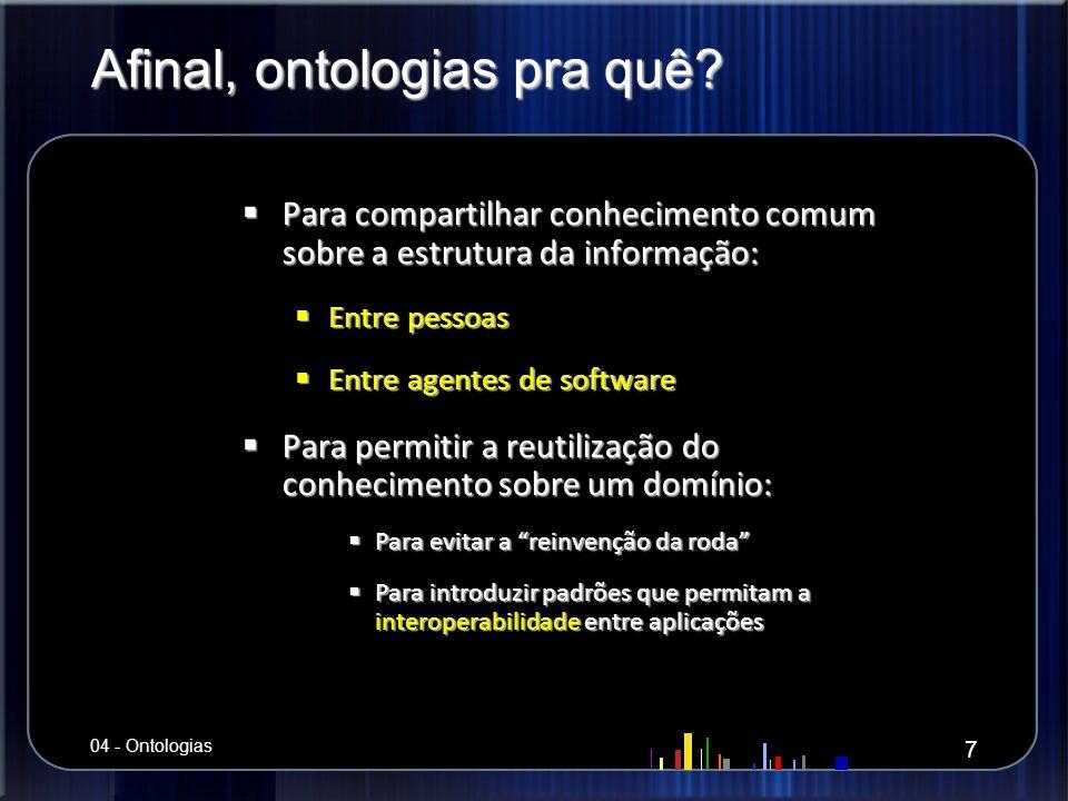 Exemplo de Ontologia Especialista: Fragmentos de uma Ontologia Acadêmica em UML 28 04 - Ontologias