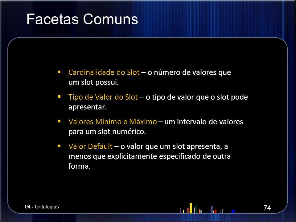 Facetas Comuns Cardinalidade do Slot – o número de valores que um slot possui. Cardinalidade do Slot – o número de valores que um slot possui. Tipo de