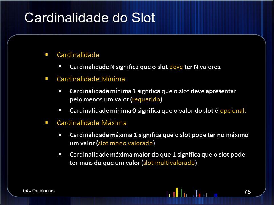 Cardinalidade do Slot Cardinalidade Cardinalidade Cardinalidade N significa que o slot deve ter N valores. Cardinalidade N significa que o slot deve t