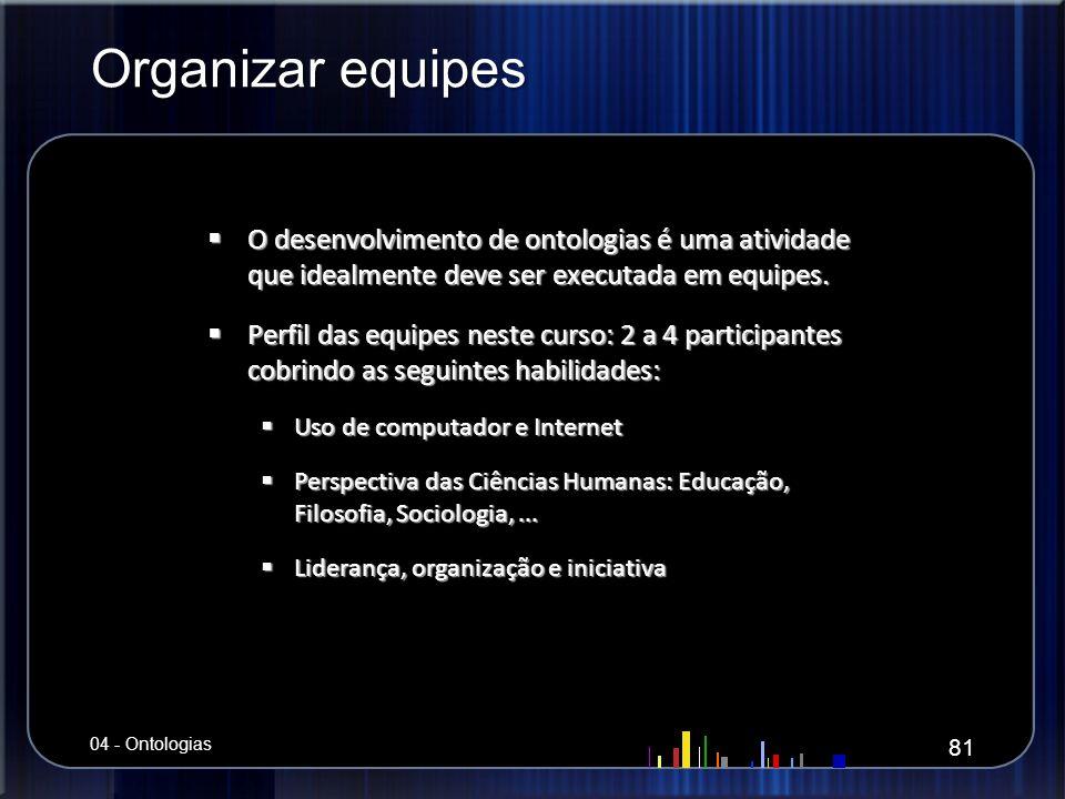 Organizar equipes O desenvolvimento de ontologias é uma atividade que idealmente deve ser executada em equipes. O desenvolvimento de ontologias é uma