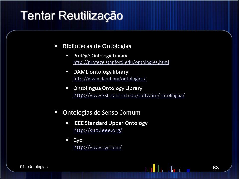 Tentar Reutilização Bibliotecas de Ontologias Bibliotecas de Ontologias Protégé Ontology Library http://protege.stanford.edu/ontologies.html Protégé O