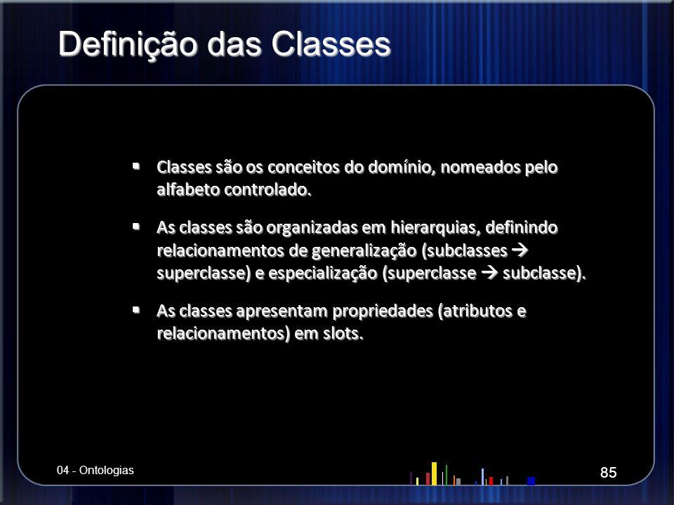 Definição das Classes Classes são os conceitos do domínio, nomeados pelo alfabeto controlado. Classes são os conceitos do domínio, nomeados pelo alfab