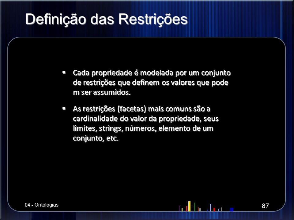 Definição das Restrições Cada propriedade é modelada por um conjunto de restrições que definem os valores que pode m ser assumidos. Cada propriedade é