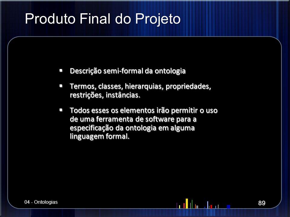 Produto Final do Projeto Descrição semi-formal da ontologia Descrição semi-formal da ontologia Termos, classes, hierarquias, propriedades, restrições,