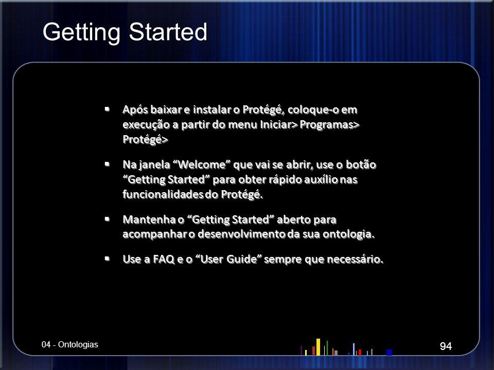 Getting Started Após baixar e instalar o Protégé, coloque-o em execução a partir do menu Iniciar> Programas> Protégé> Após baixar e instalar o Protégé
