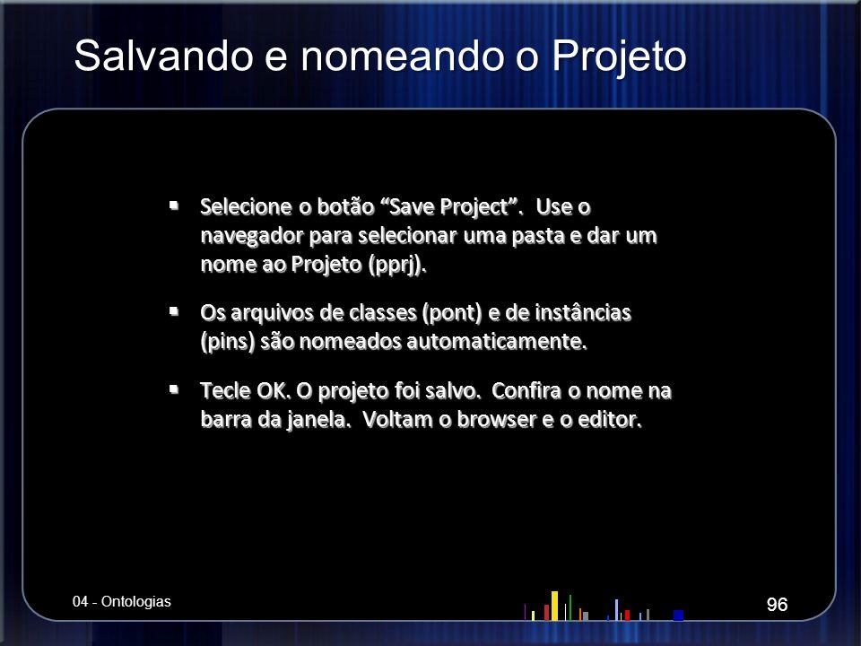 Salvando e nomeando o Projeto Selecione o botão Save Project. Use o navegador para selecionar uma pasta e dar um nome ao Projeto (pprj). Selecione o b