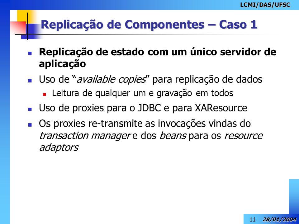 LCMI/DAS/UFSC 28/01/2004 11 Replicação de Componentes – Caso 1 Replicação de estado com um único servidor de aplicação Uso de available copies para re
