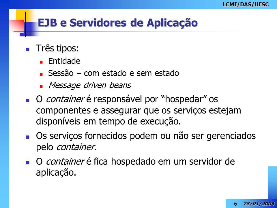 LCMI/DAS/UFSC 28/01/2004 7 Um dos muitos serviços fornecidos pelo servidor de aplicação para o container é o Serviço de transação.