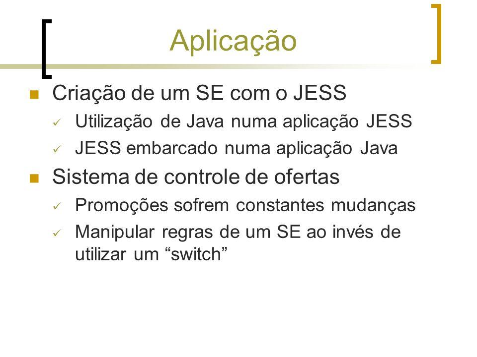 Aplicação Criação de um SE com o JESS Utilização de Java numa aplicação JESS JESS embarcado numa aplicação Java Sistema de controle de ofertas Promoçõ