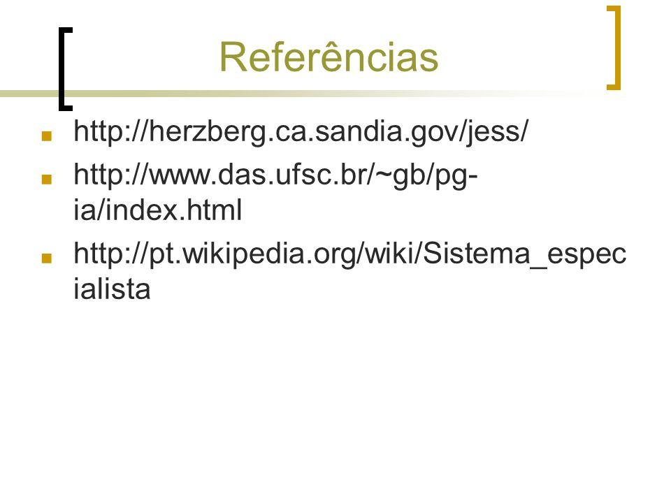 Referências http://herzberg.ca.sandia.gov/jess/ http://www.das.ufsc.br/~gb/pg- ia/index.html http://pt.wikipedia.org/wiki/Sistema_espec ialista