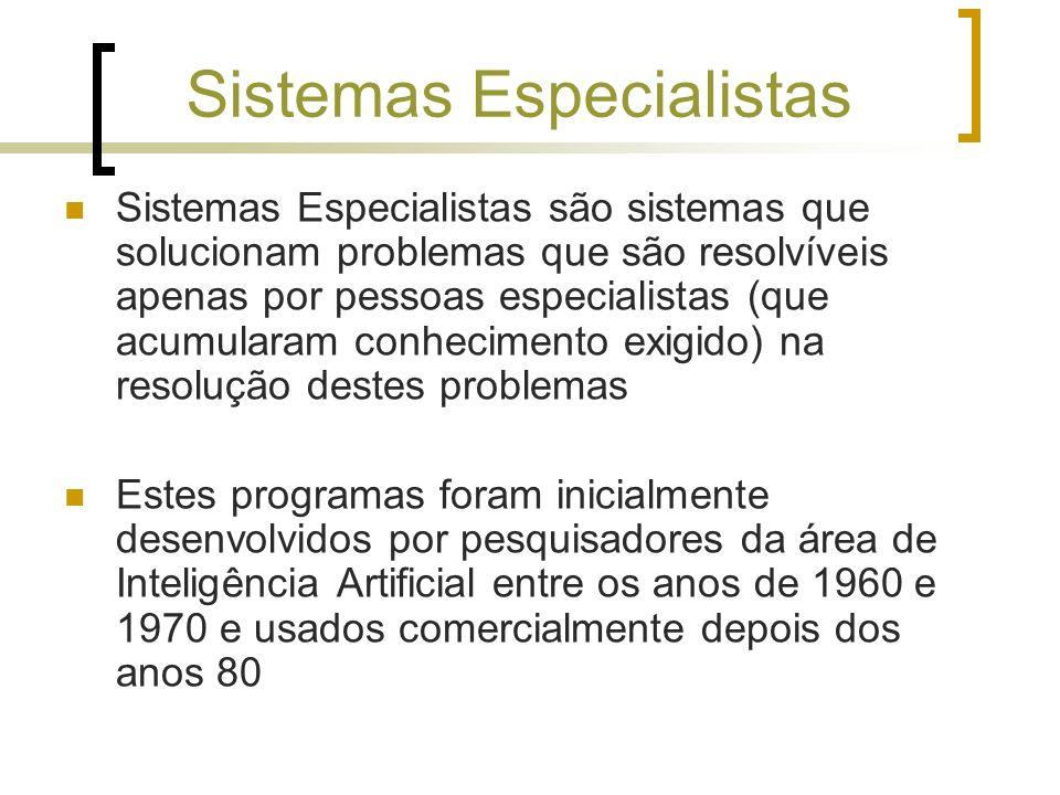 Sistemas Especialistas Sistemas Especialistas são sistemas que solucionam problemas que são resolvíveis apenas por pessoas especialistas (que acumular