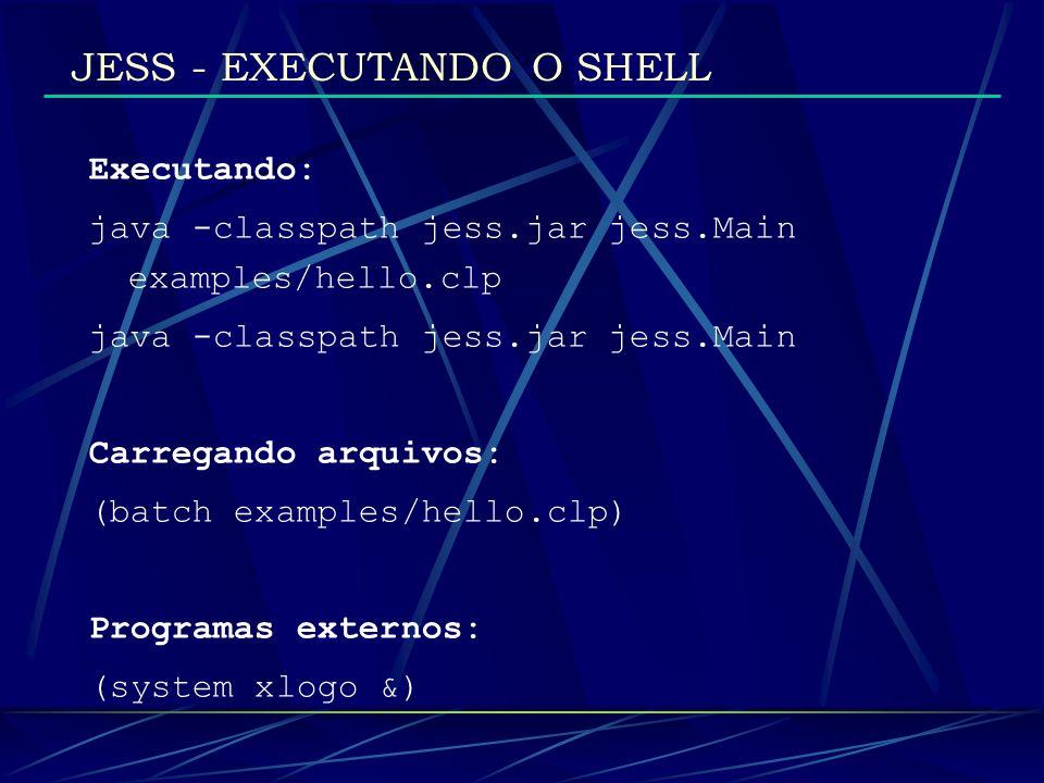 JESS - EXECUTANDO O SHELL Executando: java -classpath jess.jar jess.Main examples/hello.clp java -classpath jess.jar jess.Main Carregando arquivos: (b