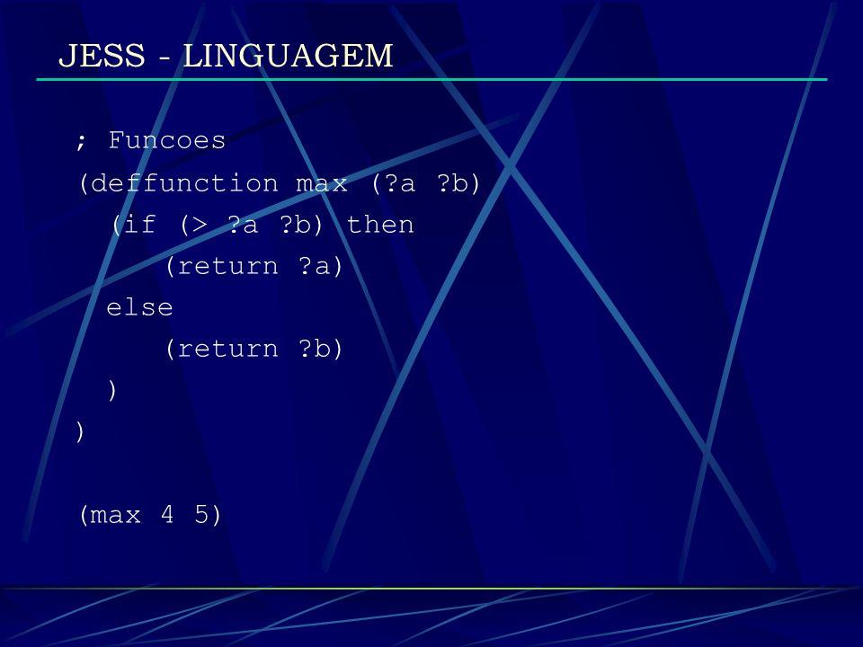 JESS - LINGUAGEM ; definindo um template (deftemplate automoveis Um carro em especifico (slot tipo) (slot modelo) (slot ano (type INTEGER)) (slot cor (default white)) )