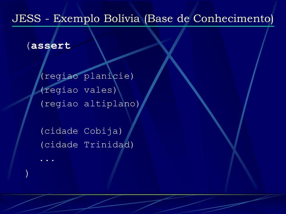 JESS - Exemplo Bolívia (Base de Conhecimento) (assert (regiao planicie) (regiao vales) (regiao altiplano) (cidade Cobija) (cidade Trinidad)... )