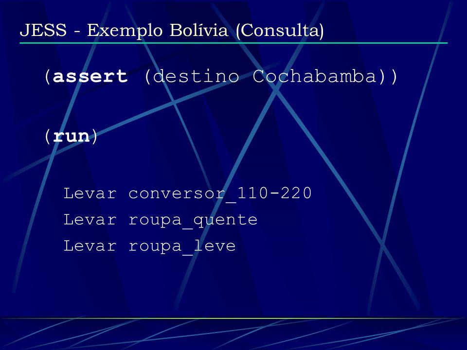 JESS - Exemplo Bolívia (Consulta) (assert (destino Cochabamba)) (run) Levar conversor_110-220 Levar roupa_quente Levar roupa_leve
