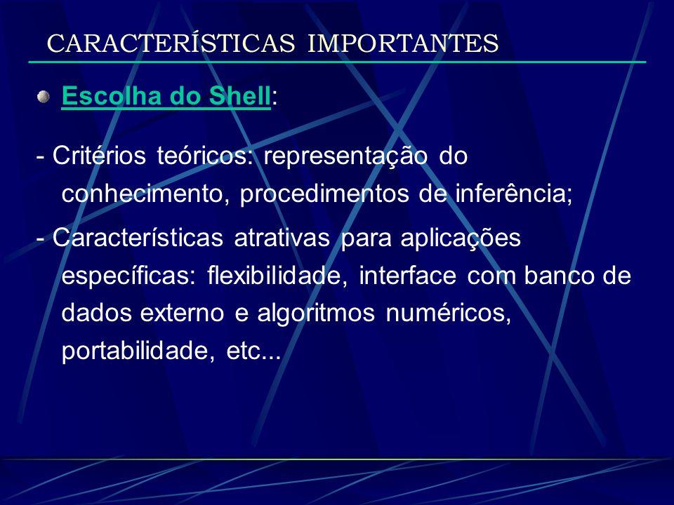 CARACTERÍSTICAS IMPORTANTES Escolha do Shell: - Critérios teóricos: representação do conhecimento, procedimentos de inferência; - Características atra