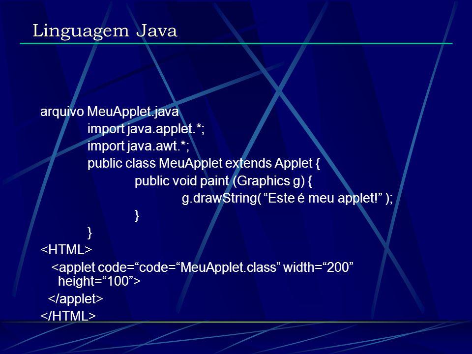 arquivo MeuApplet.java import java.applet.*; import java.awt.*; public class MeuApplet extends Applet { public void paint (Graphics g) { g.drawString(